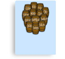 Dwarves in barrels from The Hobbit Canvas Print