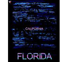 California To Miami Palm Tree Neon Design T-Shirt by Cyrca Originals Photographic Print