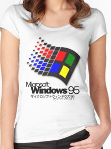 WINDOWS 95 (white/no clouds) Women's Fitted Scoop T-Shirt