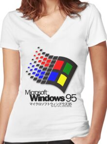WINDOWS 95 (white/no clouds) Women's Fitted V-Neck T-Shirt