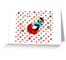 Bed of Roses Happy Penguin Greeting Card