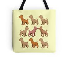 nine dogs with their tails wagging Tote Bag