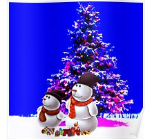 christmast tree and olaf Poster