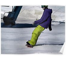 Snowboarder Finishing Stop Poster