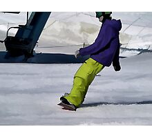 Snowboarder Finishing Stop Photographic Print