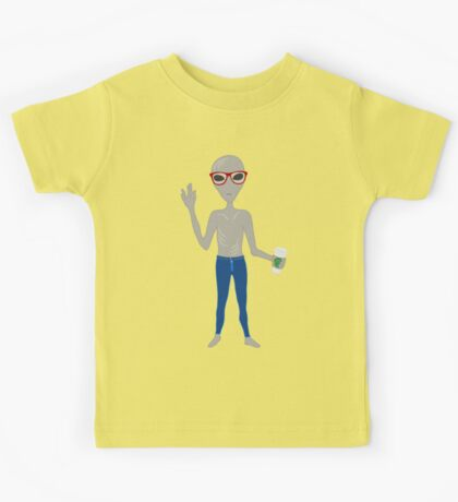 Alien Hipster In Skinny Jeans With Coffee Kids Tee