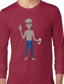 Alien Hipster In Skinny Jeans With Coffee Long Sleeve T-Shirt