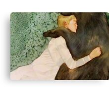 the bear submitted to her love, and if he growled she only laughed Canvas Print