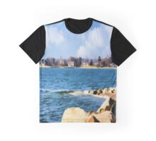 New England Shoreline - Painterly Graphic T-Shirt