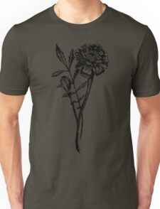 Black and White Marigold Flower Drawing Unisex T-Shirt