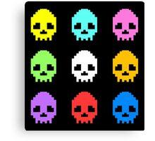 8-bit Skulls retro cool design Canvas Print