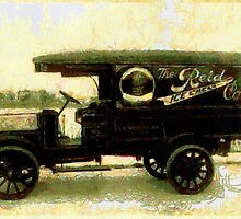A digital painting of a Reid Ice Cream Co. truck, probably in Washington, D.C. in the 19th century by Dennis Melling