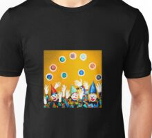 What Wonderful Worlds - Clowns with Many and Strange Hands - Yellow  Unisex T-Shirt