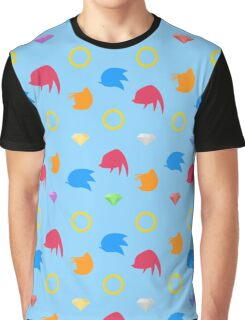 Sonic & Knuckles & Tails with Chaos Emeralds (blue) Graphic T-Shirt