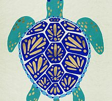 Sea Turtle – Navy & Gold by Cat Coquillette