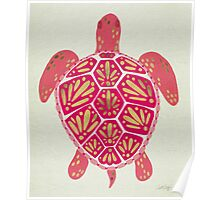 Pink & Gold Sea Turtle Poster