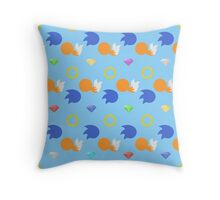 Sonic and Tails chaos emeralds (blue) Throw Pillow
