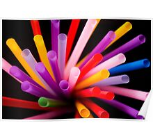 Colorful drinking straws Poster