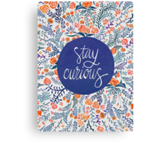 Stay Curious – Navy & Coral Canvas Print