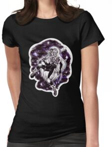 Moon Warrior - Black & White Womens Fitted T-Shirt