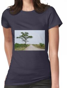 road in the African savanna Womens Fitted T-Shirt