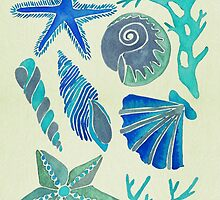 Blue Seashells by Cat Coquillette