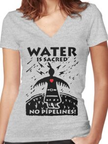 STANDING ROCK Women's Fitted V-Neck T-Shirt