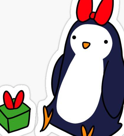 Christmas Gift Penguin Sticker