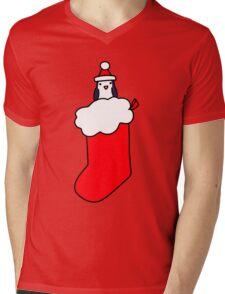 Christmas Stocking Penguin Mens V-Neck T-Shirt