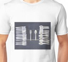 plastic forks and plastic spoons with wooden table Unisex T-Shirt