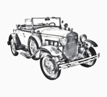 1931 Ford Model A Cabriolet Illustration One Piece - Short Sleeve