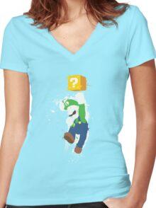 Luigi Paint Splatter Shirt Women's Fitted V-Neck T-Shirt