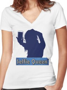 Funny Unique and Cool Blue and Gold Selfie Queen T-shirt Women's Fitted V-Neck T-Shirt