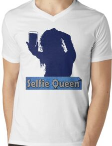 Funny Unique and Cool Blue and Gold Selfie Queen T-shirt Mens V-Neck T-Shirt
