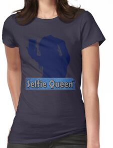 Funny Unique and Cool Blue and Gold Selfie Queen T-shirt Womens Fitted T-Shirt