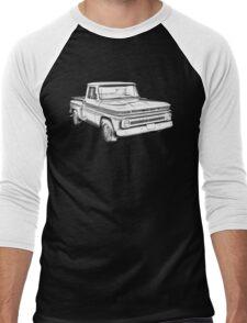 1965 Chevrolet Pickup Truck Illustration Men's Baseball ¾ T-Shirt