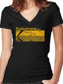 Kodachrome vintage Women's Fitted V-Neck T-Shirt