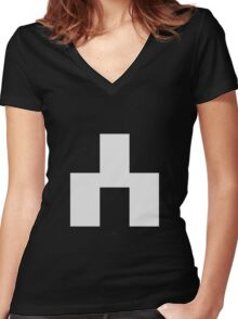 White Bear Symbol - Black Mirror Women's Fitted V-Neck T-Shirt