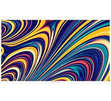 Color and Form - Curved Waves Flowing Lines  Photographic Print