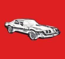 1980 Pontiac Trans Am Muscle Car Illustration Kids Tee