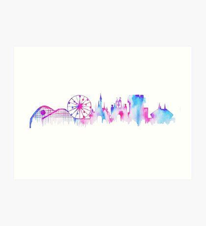 California Magic Theme Park Watercolor Skyline Silhouette Art Print