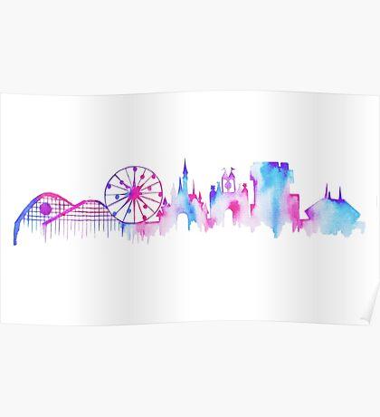 California Magic Theme Park Watercolor Skyline Silhouette Poster