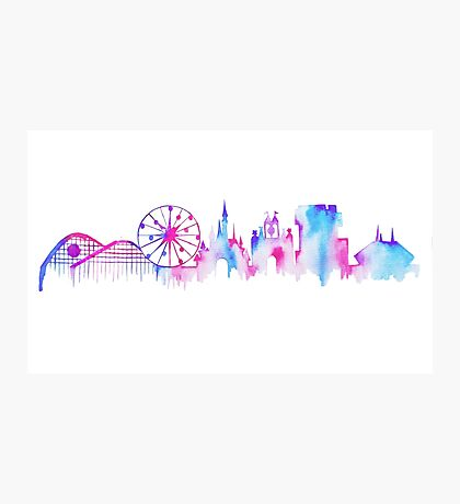 California Magic Theme Park Watercolor Skyline Silhouette Photographic Print