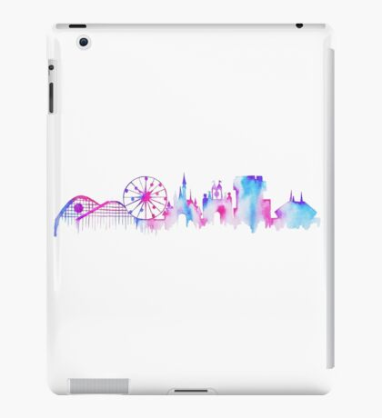 California Magic Theme Park Watercolor Skyline Silhouette iPad Case/Skin