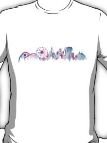 Disneyland California Watercolor Skyline Silhouette Illustration T-Shirt