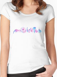 California Magic Theme Park Watercolor Skyline Silhouette Women's Fitted Scoop T-Shirt