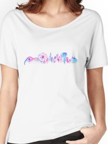 California Magic Theme Park Watercolor Skyline Silhouette Women's Relaxed Fit T-Shirt