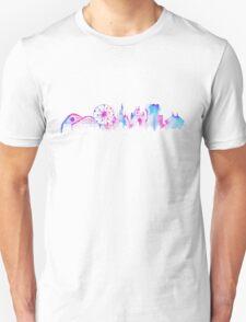 California Magic Theme Park Watercolor Skyline Silhouette T-Shirt