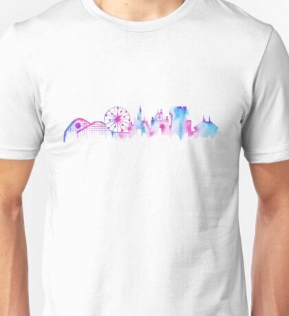 California Magic Theme Park Watercolor Skyline Silhouette Unisex T-Shirt