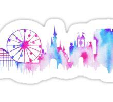 California Magic Theme Park Watercolor Skyline Silhouette Sticker
